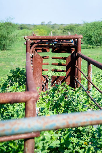 Close-up of rusty metal fence on field