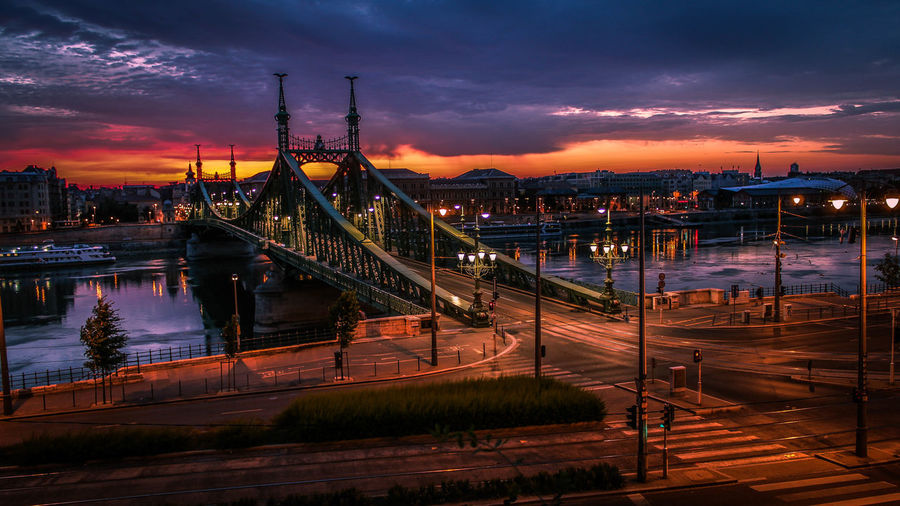 High angle view of liberty bridge over danube river at sunset