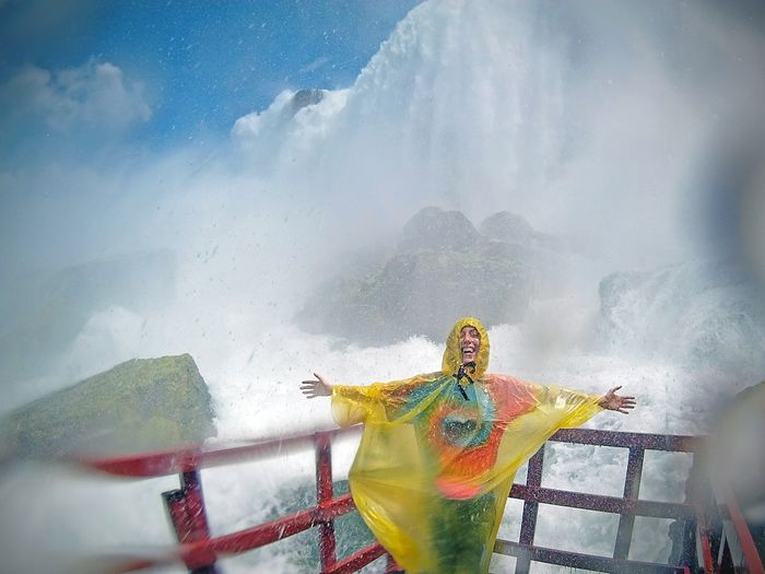Waterfall Niagara Falls Happy Arms Outstretched Arms Wide Open Joy Rushing Water Tie Dye Blue Sky Summer Summer Vacation Sightseeing Poncho Laughing Mist Splash Wet Getting Wet Cool Off Stay Cool Cool Down Cliff Adventure Wide Angle Showcase July Neighborhood Map