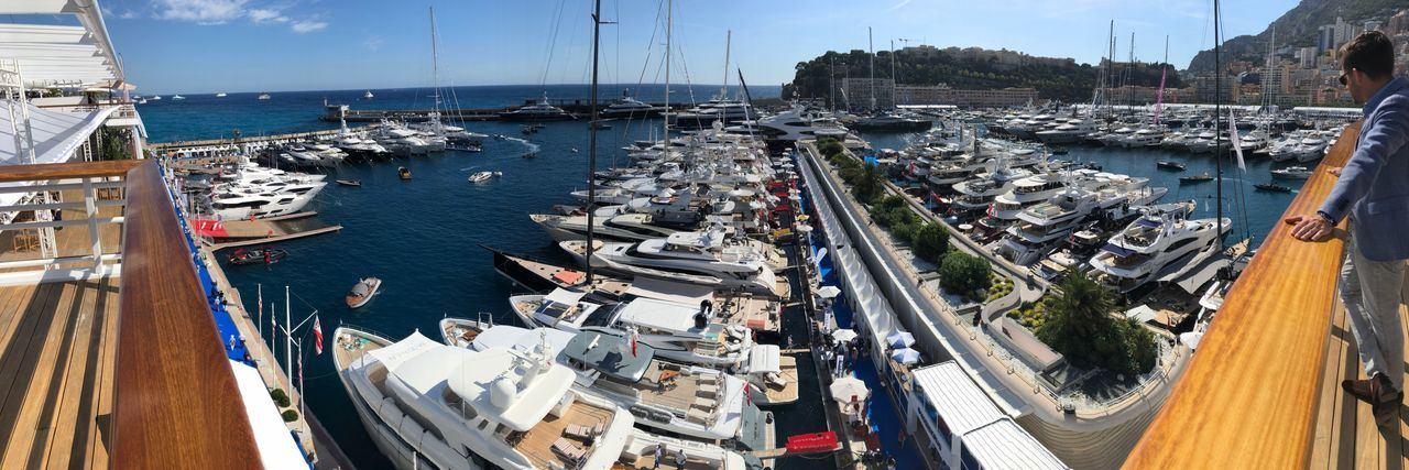 Monaco Yacht Show Yacht Club Megayacht Superyacht Yachting Yacht EyeEm Selects Water Nautical Vessel Transportation Mode Of Transportation Moored Architecture Harbor Sea High Angle View Day City Sailboat Sunlight Sky No People Outdoors Port