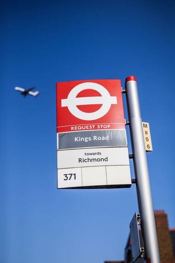 Kings Road Kings Road London Bus Bus Stop London Travel Traveling City Life Blue Sky Airplane Aircraft Richmond Transport Symbol Sign Commuting