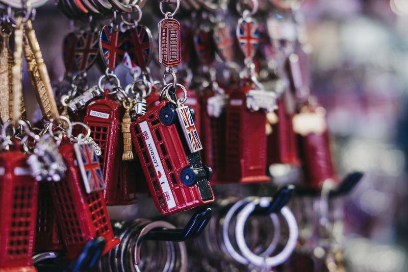 Close-up of key rings hanging at market