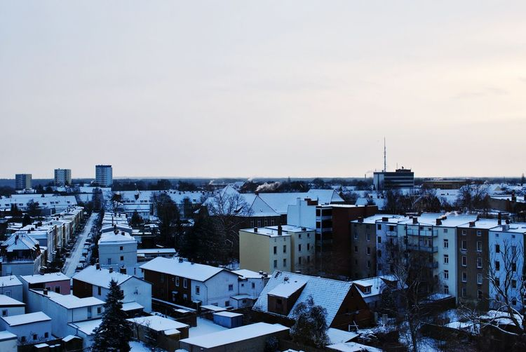 Get ready for winter. Built Structure Cold Temperature Cityscape Outdoors Day Snow Sky No People Winter City Roofs Frosty Morning Rooftop View  Industrial Landscapes North Germany