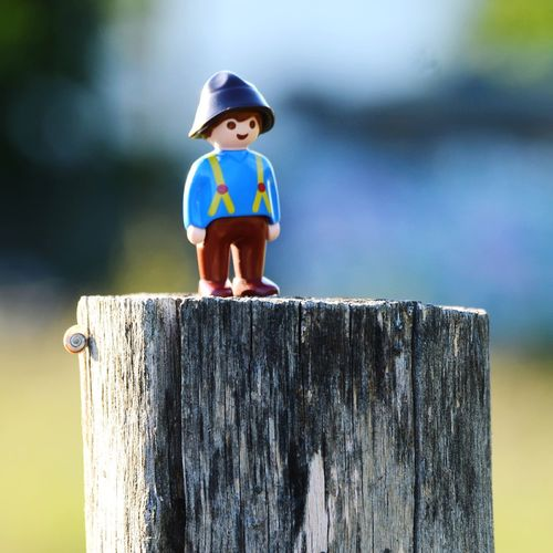 Close-up of boy standing on wood against sky