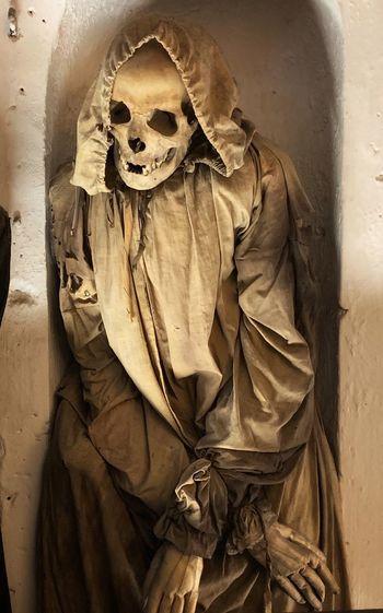 Full frame shot of human skull on wall