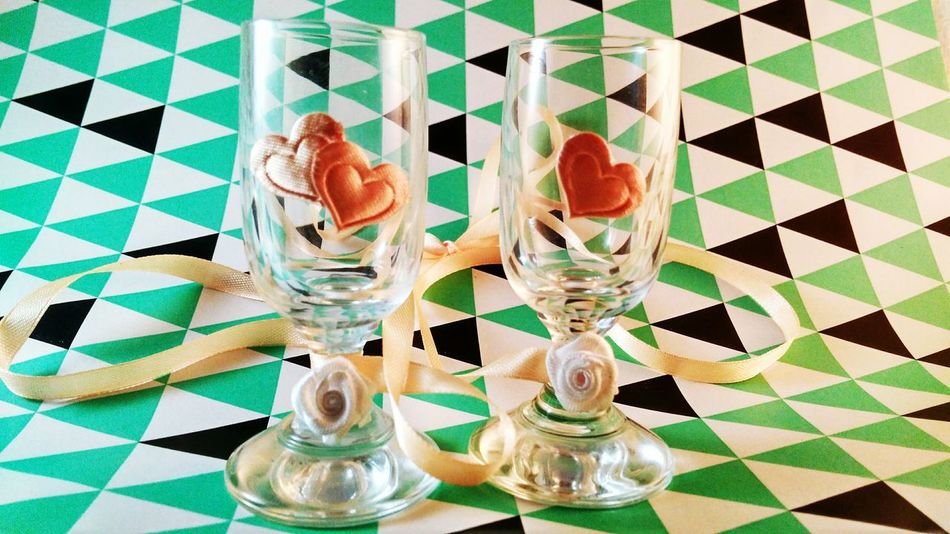 Indoors  No People Day Close-up Glasses Shot Glasses Hearts Heart Shape Wedding Glass Heart Shaped  Glasses👌 Glasses :) The Week On EyeEm EyeEmNewHere Shot Glass Collection Background Hearts♡hearts Wedding Favors Pink Hearts Pink Pink Color Colored Background Colored White Roses Rose Pattern