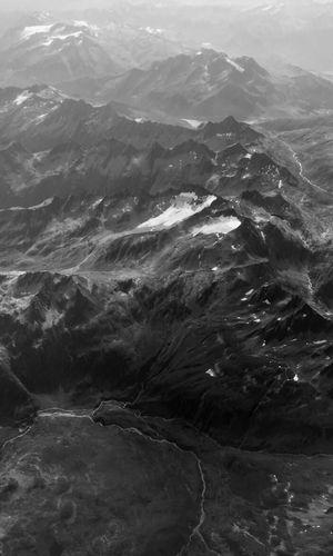 Mountain Range Lugano, Switzerland Nature Blackandwhite