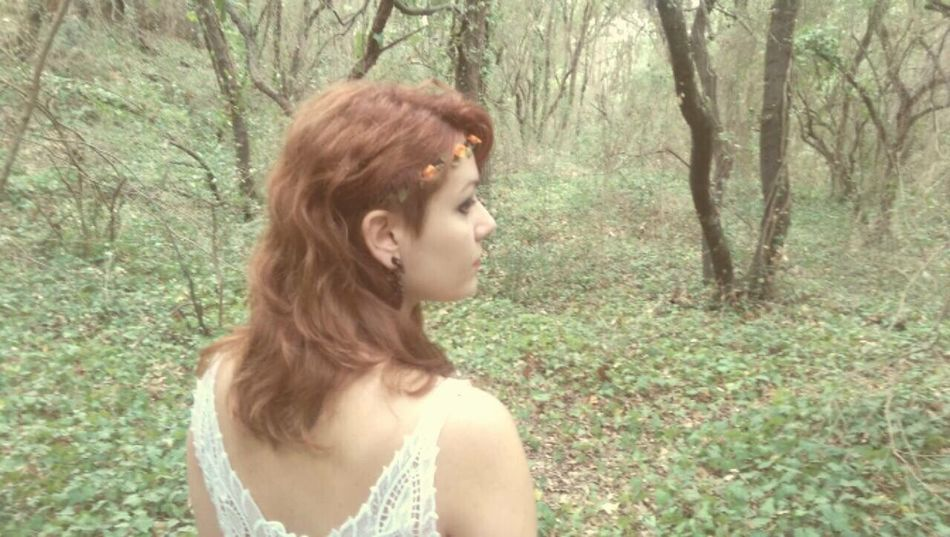 Princess in the forest Young Adult Redhead One Young Woman Only Beauty Contemplation Brown Hair Day Dreaming Nature One Person Beautiful Woman Forest Beautiful People Young Women Tree One Woman Only Serene People Adults Only Adult Green Color