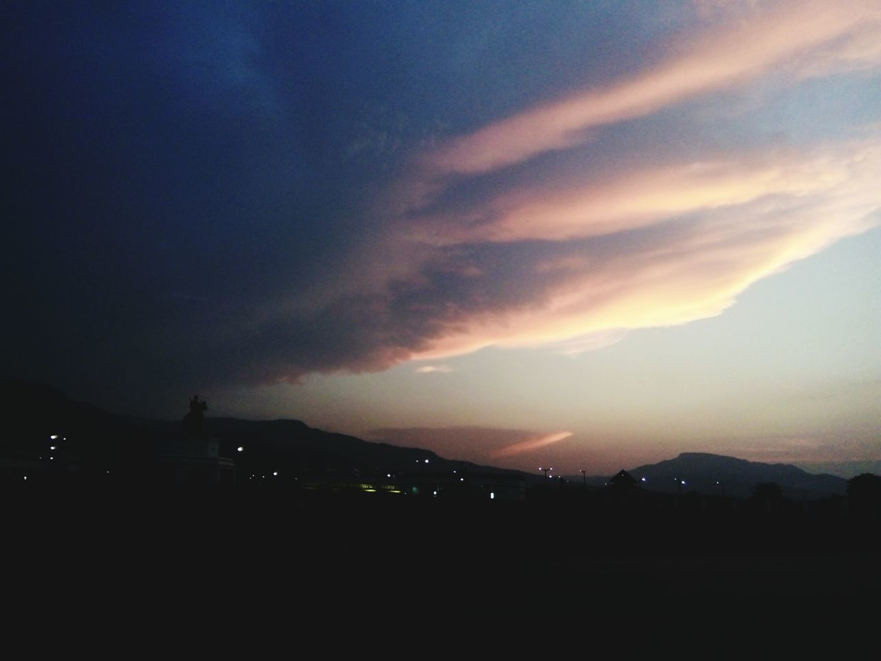 sky, silhouette, night, beauty in nature, nature, no people, dusk, sunset, tranquility, tranquil scene, scenics, outdoors, illuminated, architecture