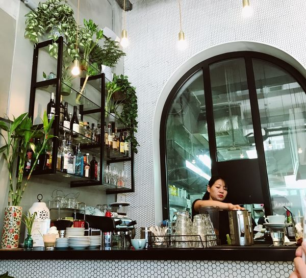 Flowers Breakfast Food Colorful Colors White Green Woman Brunch Light Bright Daylight Morning HongKong Indoors  Only Women Window One Person Portrait Looking At Camera Smiling