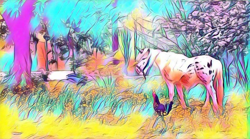 Art And Craft Creativity Painted ImageDomestic Animals Nature Mammal Grass Animal Themes Einhorn Unicorn Unicorn Art Watercolor Painting Multi Colored Artist Tree Portrait Day Close-up Outdoors