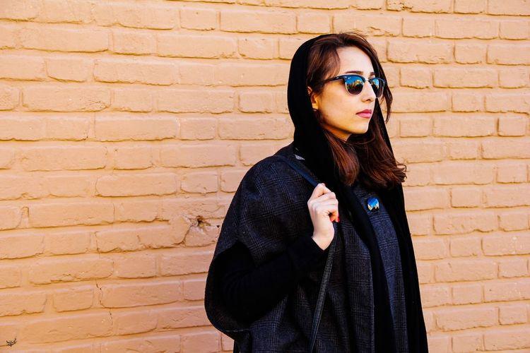Brick Wall Outdoors Iran Portrait Young Women