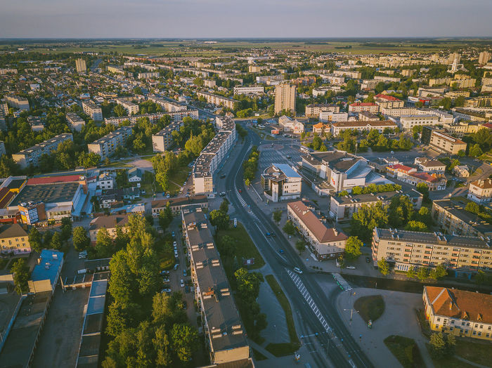 Panevėžys city center. Panevėžys is the fifth largest city in Lithuania. As of 2011, it occupied 52 square kilometres with 113,653 inhabitants. Aerial Shot DJI X Eyeem Drone  Lietuva Aerial Aerial View Architecture Building Building Exterior Built Structure City Cityscape Day Europe High Angle View Mavic Mavic Pro Nature No People Outdoors Plant Residential District Sky Tree