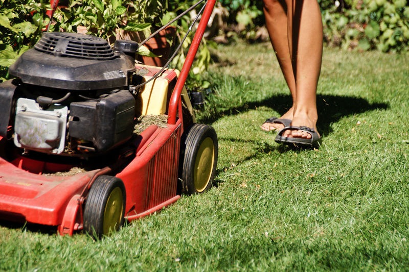 Low section of woman with lawn mower on field