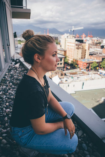 Afternoon City Cityscape Fashion Happiness Houses Lifestyle Natural Light Rooftop Vancouver View Canada Chucks Future Harsh Light Horizon Light And Shadow Overlook Shadows Skyscraper Streetstyle Style Thinking About Life Woman Portrait Young Adult