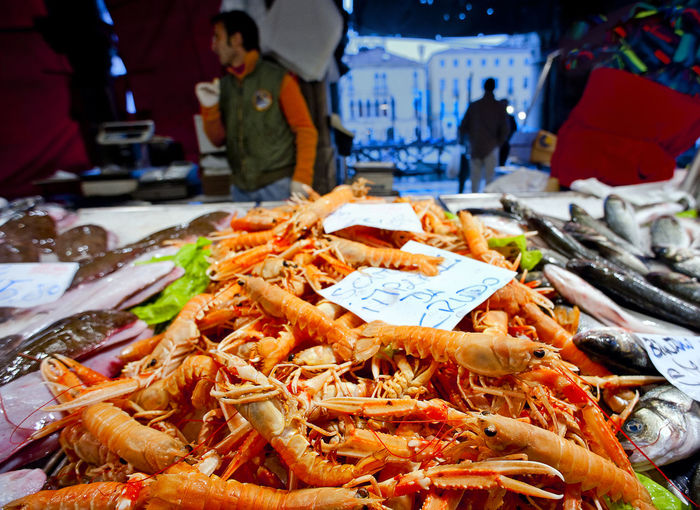 Close-up of prawns for sale at market stall