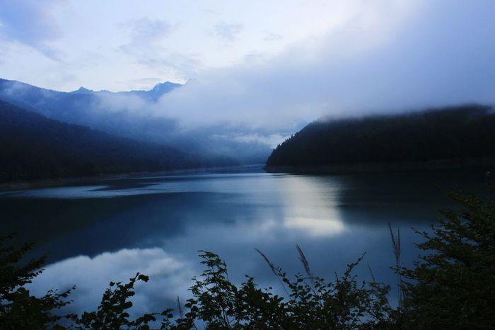 Lake evening Sauris Mountain Water Reflections