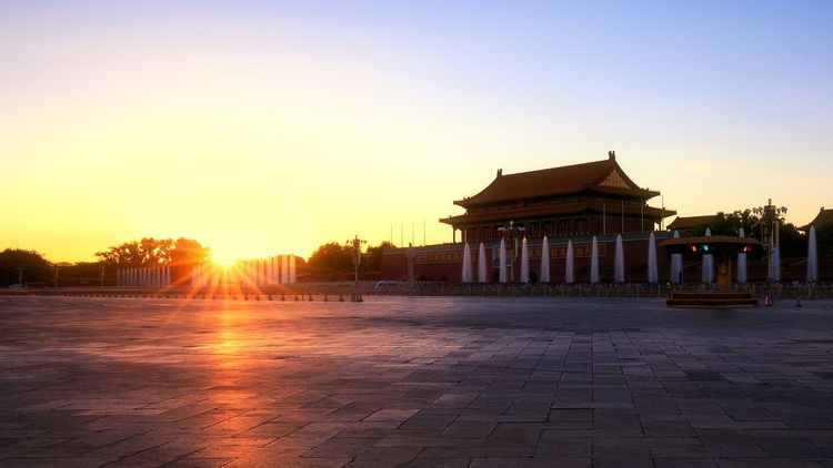 Paint The Town Yellow Sunset Architecture Travel Destinations History Built Structure Lens Flare Tourism Religion Building Exterior Sky Outdoors No People Travel Place Of Worship Clear Sky Nature Day Ancient Civilization China Beijing Tiananmen Square