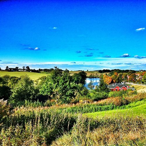 Lagan Laholm  ängar Himmel moln blå sol clode sky water hill internationalpictures halland