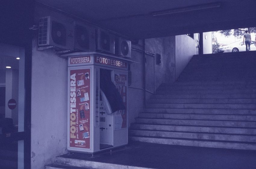 Ektachrome Expired Film Film Kodak Architecture Building Building Exterior Built Structure City Closed Communication Direction Door Entrance Film Photography Illuminated Night No People Outdoors Railing Sign Staircase Street Text Western Script