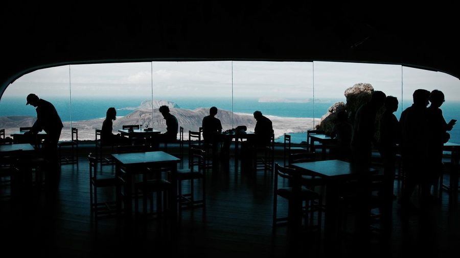 Silhouette people at restaurant