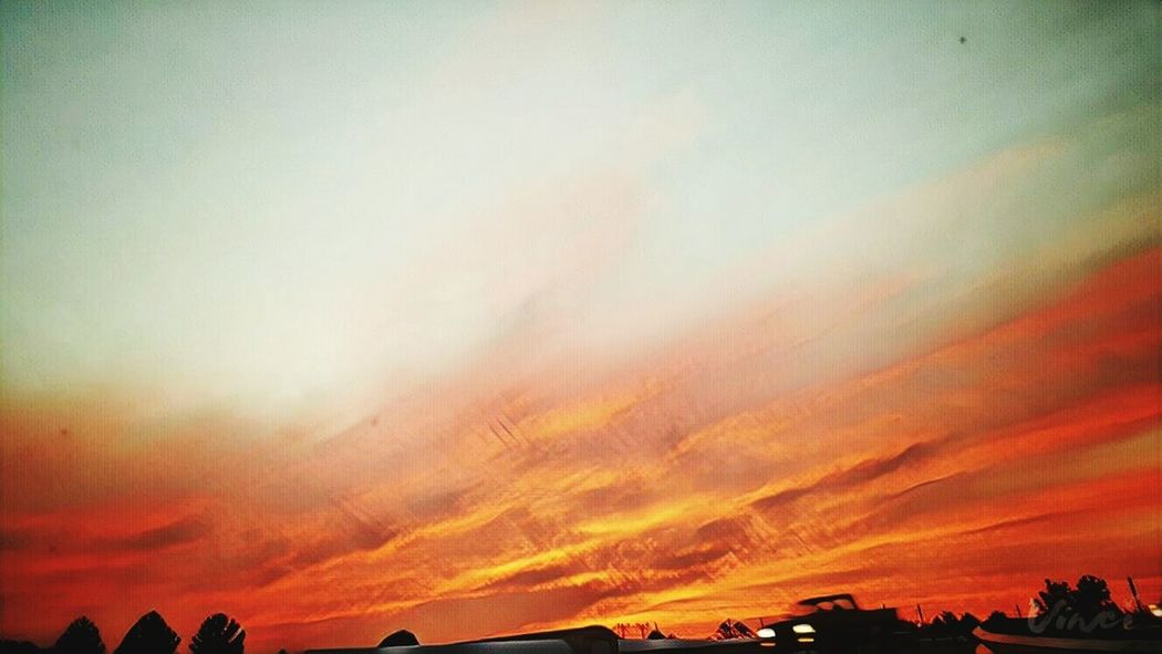 Drive Home Headlights Fire In The Sky Sunset Nature Landscape Beauty In Nature Sky Scenics No People Outdoors Day