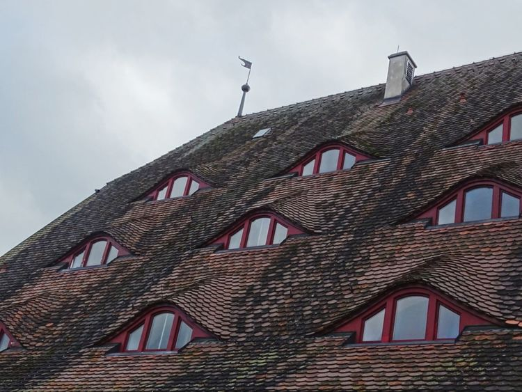 Building Exterior Low Angle View Sky House Window Tiled Roof