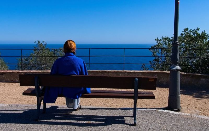 Rear view of woman sitting on bench against blue sea