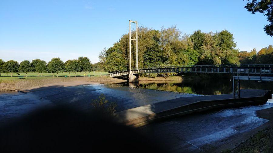 Tree Water Reflection Sky Outdoors No People Blue Cardiff Blackweir Bridge