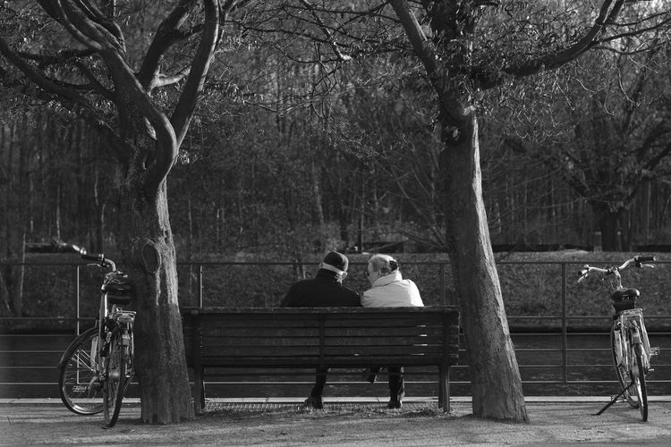 Goals Bench Berlin Blackandwhite Bycicle Couple Love Old Couple Outdoors Relationship Spree