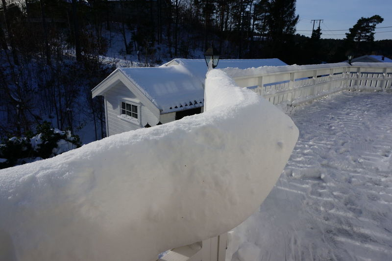 Snow on built structure in winter