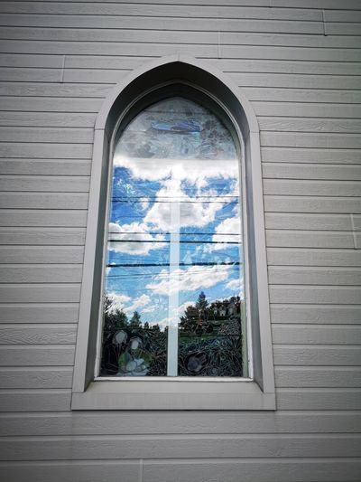 View of glass window of building