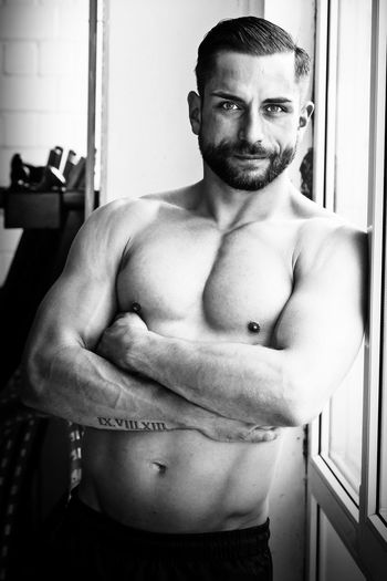 Arms Crossed Athletic Beard Beautiful Black And White Bodrum Body & Fitness Body Building Cool Fitness Fitnessmodel Looking At Camera Male Man Model Muscles NakedButts Portrait Power Powerful Selfconfident Serious Sport Training View