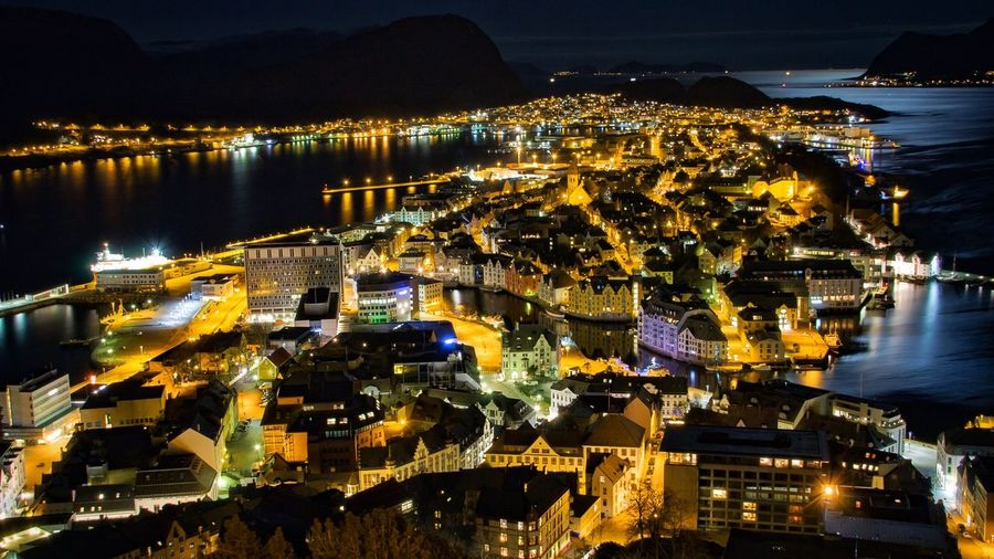 Nightphotography City Cityscape Reflection Norway EyeEm Best Shots Taking Photos Relaxing Water Reflections Eye4photography  Building Exterior Night Alesund Citylights Illuminated Architecture Built Structure Sea Water Outdoors Travel Destinations No People Sky Nautical Vessel Harbor Skyscraper Yacht