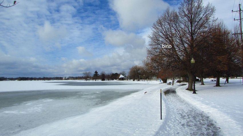 Out Walking Around The House Winter_collection Sun And Clouds Beautiful Day Cold Temperature Tranquility Lake Cadillac Pure Michigan