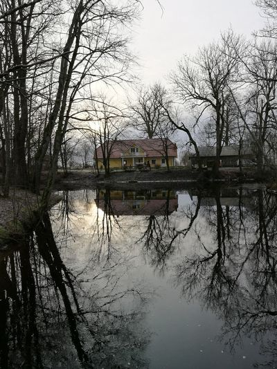 River Water House Lakehouse Winter Symmetry Tree Reflection Water Lake Tree Sky No People Nature Outdoors Puddle Reflecting Pool Day Building Exterior Flood Architecture Beauty In Nature