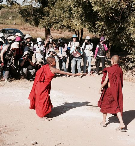 Photography tourists pay for shooting little monks in Bagan. Burma Documentary Fake Forge  Hypocrisy Monk  Myanmar News Photo Tour Photography