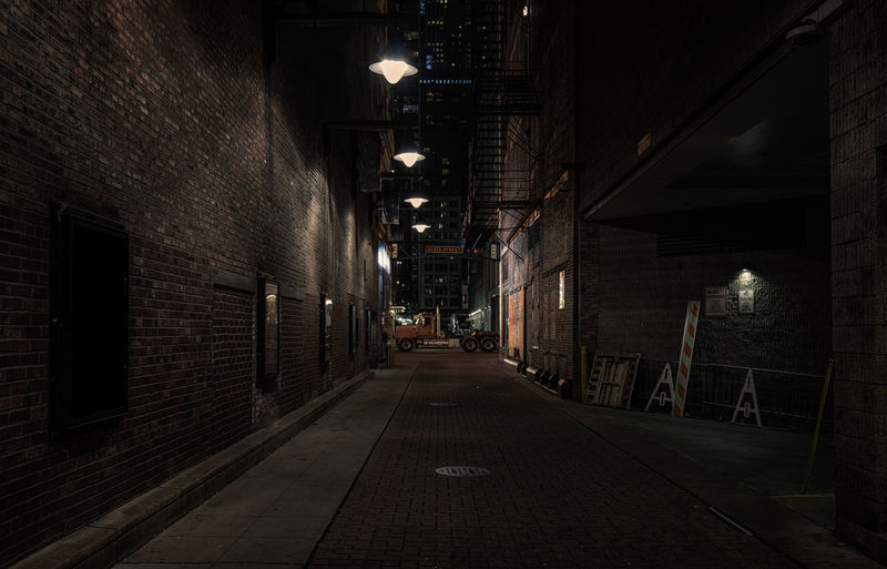 Chicago theater district alley Architecture Built Structure Direction The Way Forward Building Exterior Illuminated Night City Building Brick Brick Wall No People Lighting Equipment Street Wall - Building Feature Wall Diminishing Perspective Empty Footpath Alley Outdoors Chicago Chicago Architecture