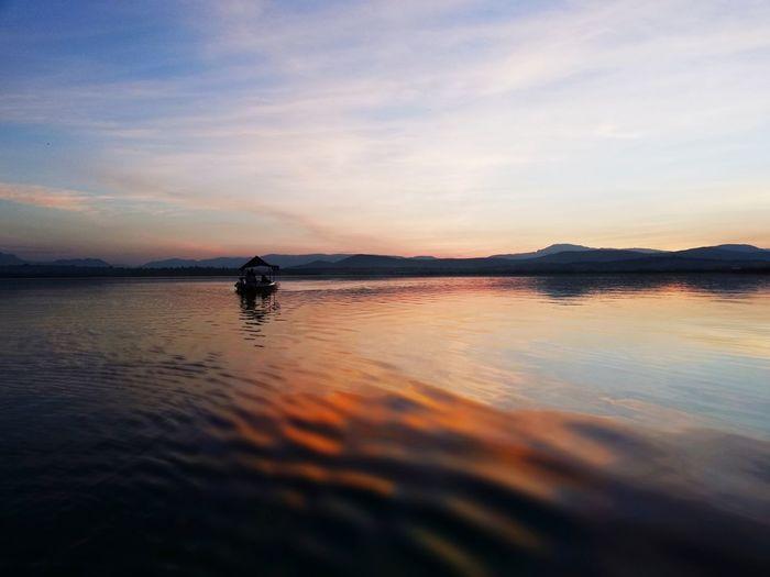 Coatetelco Lancha Mojarra Chelita Sunset Water Full Length Lake Men Beach Summer Silhouette Reflection Sky Wave