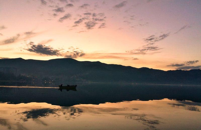 sunset in albania Water Mountain Sunset Lake Reflection Sky Fishing Rod Fishing Catch Of Fish Fishing Boat