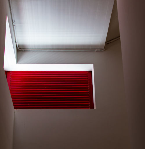 Red Indoors  No People Architecture Pattern Close-up Window Built Structure Wall - Building Feature White Color Day Building Design Shape Absence Modern Home Interior Blinds Lighting Equipment Ceiling