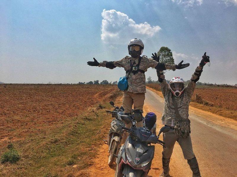 Outdoors Helmet Sky Field Friendship Landscape Happiness Motocross