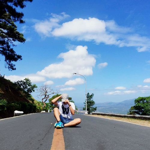 Last summer my Aunt & Cousin went to Mt. Samat Shrine. Me and my cousin take some selfies. This is one of many shot we take there People And Places Tree Sky Enjoyment Relaxation Togetherness Boys Day Fun Summer Mountain Cloud - Sky Cloud New