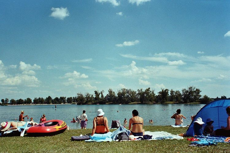 Water Tree Beach Men Nautical Vessel Lake Sitting Togetherness Summer Sky Calm Pedal Boat Cloud Lakeside Mid Distance