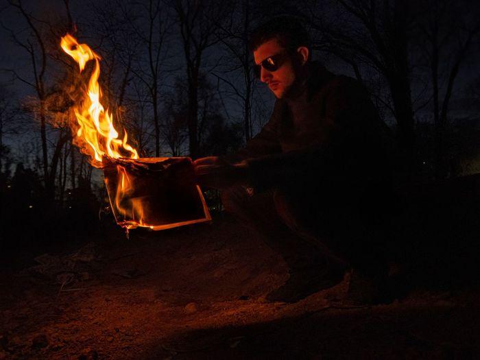Bonfire on wooden fire in the dark