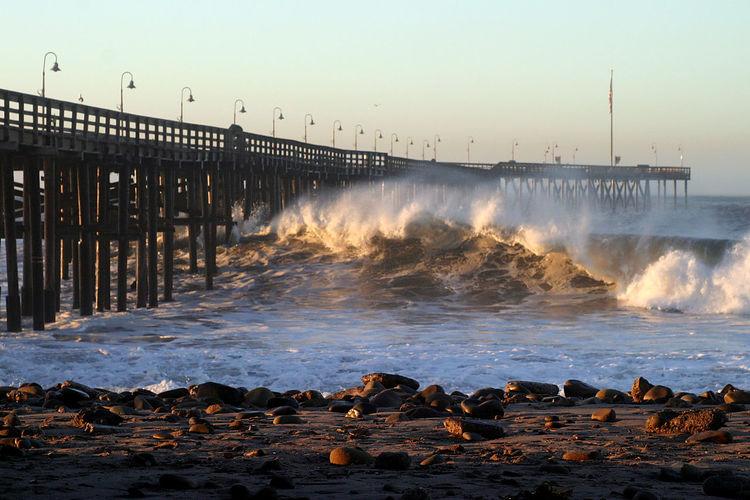 Waves Splashing On Shore During Sunset