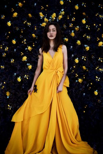 Beauty and the me Flower Flowers Yellow Flower Yellow Women Yellow One Person Clothing Beautiful Woman Adult Young Women Plant Part Portrait Beauty Fashion Nature Autumn Young Adult Front View Leaf Looking At Camera Dress Beautiful People Hairstyle Inner Power