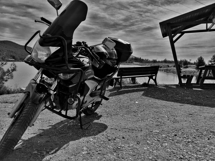 Motorcycle #Nature  #blackandwhite #sky #helmet #Lake Headwear Sky Riding Motorcycle