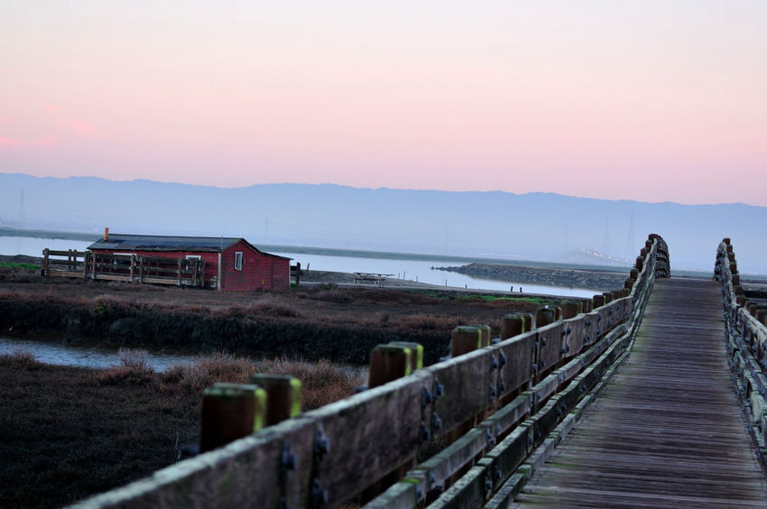 Sunrise At Newark Slough 2 Newark Slough Trail Newark, Ca. Wildlife Refuge Tidal Wetlands Marsh Restored Marshlands Water Footbridge Pedestrian Overpass Canal Channel Sunrise Background San Mateo Bridge Salt Pond Marin Headlands Duck Hunters Cabin Nature Beauty In Nature Nature_collection Daybreak Landscape_Collection Landscape_photography Landscape
