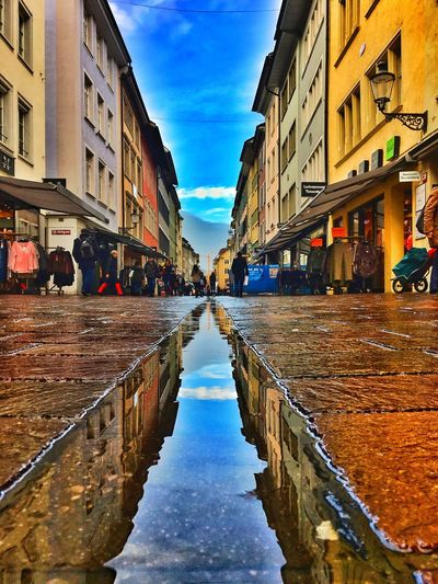 Winterthur Altstadt Wasserspiegelung Day Reflection City Regenpfütze